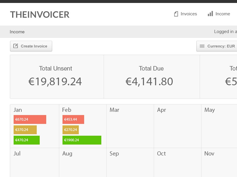 Invoice Income income invoice app cms admin login ui ux data table chart