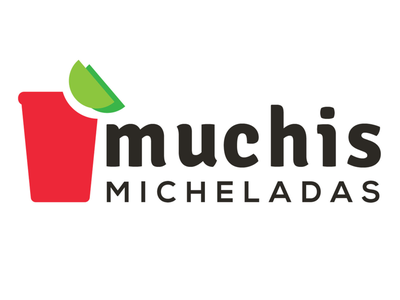 MUCHIS cup lime green red product business drinks clients branding logo