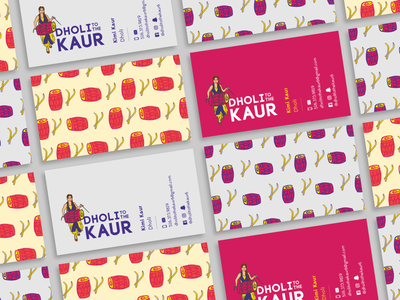 Dholi to the Kaur Business Cards illustration design purple drums freelance yellow client cards grey magenta musician music indian business cards
