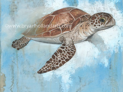 underneath mixed media collage oil painting animal sea turtle realism painting