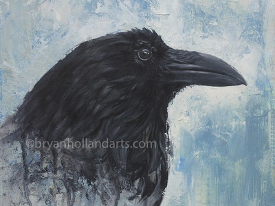 West Of Here oil painting realism painting corvid bird raven