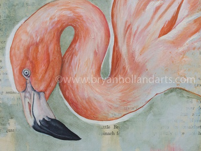 Season oil painting painting collage media mixed realism animal bird flamingo