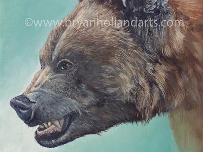 Ursus Arctos oil painting teeth snarl realism animal painting grizzly bear