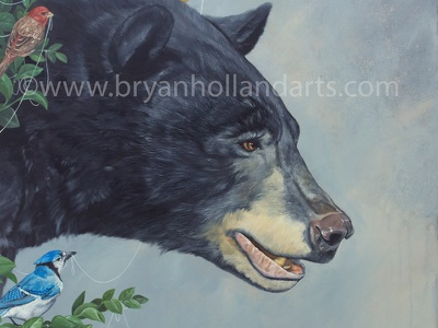 String Theory realism oil painting birds black bear
