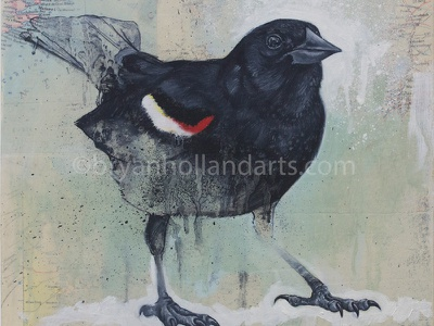 A Place To Stand realism mixed media collage map animal bird red winged blackbird
