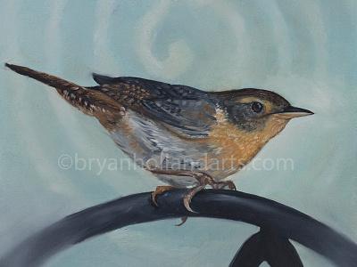 Spiral oil paint painting animal bird