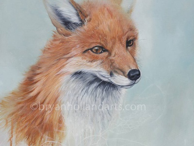 Shift painting oil paint plant realism animal red fox