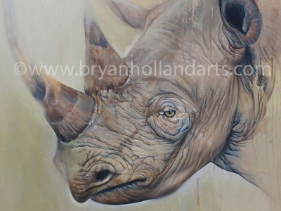 Remnant realism oil painting animal horn endangered rhino