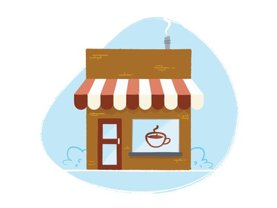 Coffee Shop illustration awning outside building shop coffee