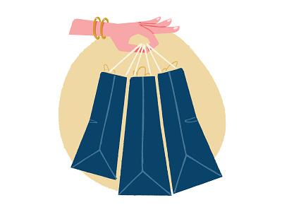 Shoppiiinnng illustration hand-model bags buy shopping