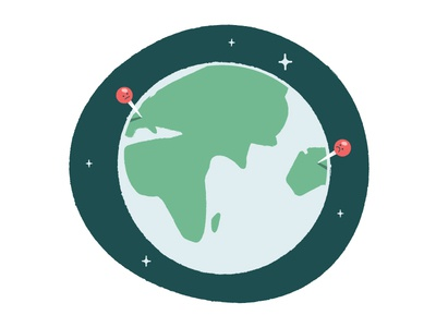 Distant Neighbors illustration map stars space distance pins world