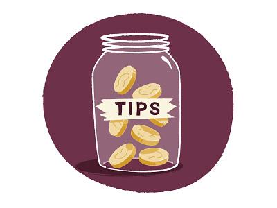 Work 4 Tips illustration tape money coins (glass jar) tips (tip jar)