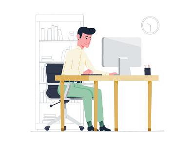 We Met Online illustration shopping customer bookcase desk office online computer