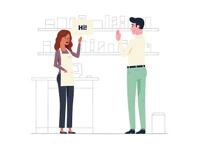 Say Hello illustration associate customer hello greeting shopping shelf business store