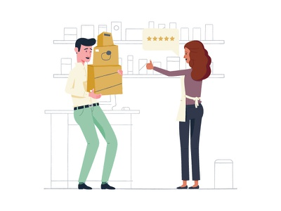 Turn Skeptics Into Believers store shopping shelf illustration rating boxes customer business associate
