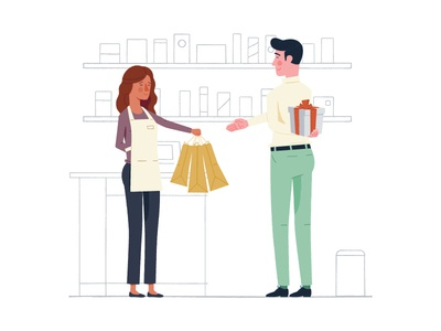 Leverage Customer Delight store shopping shelf present illustration customer business bags associate