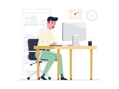 Dont Be A Stranger love email shopping online office illustration desk customer computer bookcase