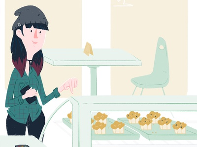 Bakery Pickin girl illustration muffins shop sweets business bakery
