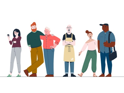 Character Personas characters illustration personas owner small-business couple baker family
