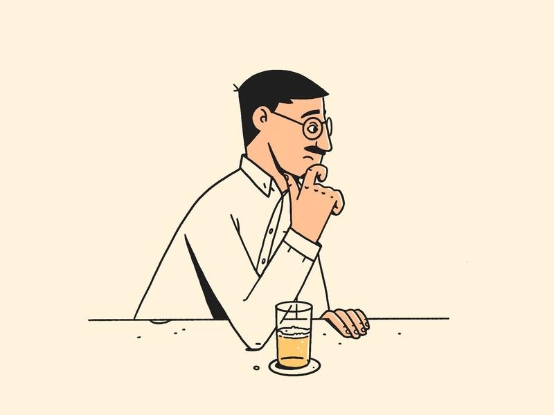 Self Portrait 2019 bar thinking beer procreate me self portrait illustration