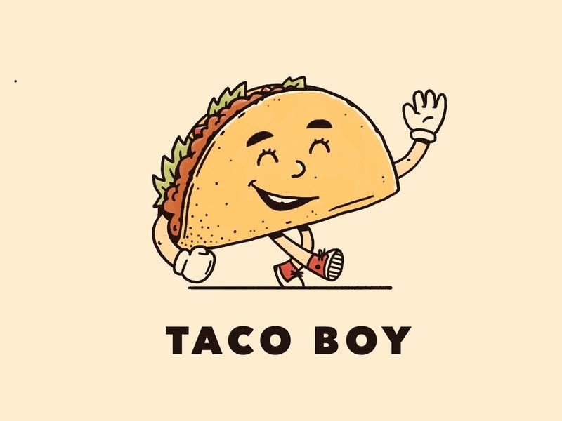 Taco Boy walking procreate howdy boy taco character illustration