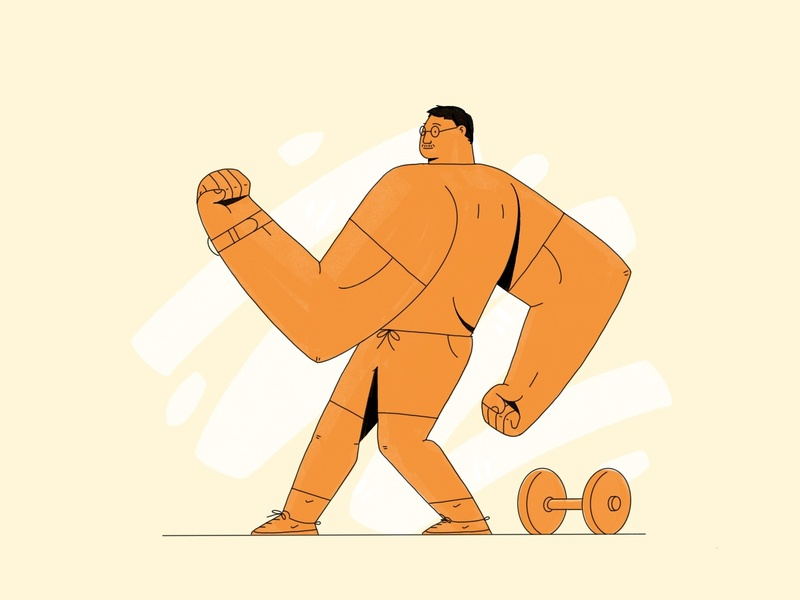 Straight Flexin selfie illustration muscles weights lifting workout