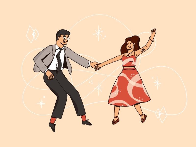 Dancing ✨ boogie retro floating dancing couple people procreate illustration
