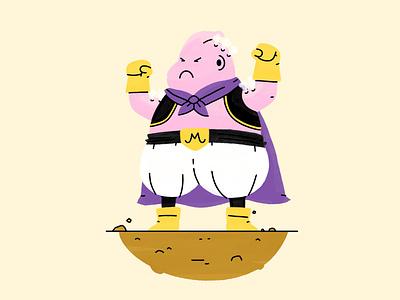 Majin Buu cape steam angry dragon ball z procreate cartoon illustration