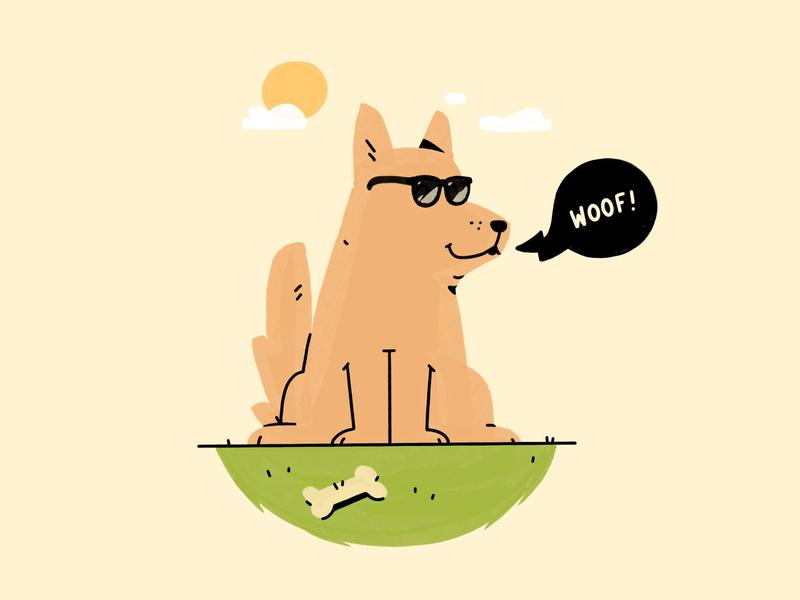 Cool Dog woof bone sun sunglasses cool procreate illustration dog