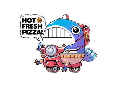 Pizza Whale #1 redbubble sticker photoshop animal whale sea 2d character illustration characterdesign