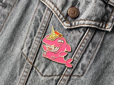 Shark Unicorn Pin illustration 2d character design design character artwork product photo pin fantasy unicorn shark
