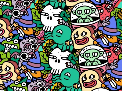 Pattern Monster Fantasy Club goodies monsters pattern photoshop characterdesign illustration character 2d