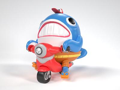 Whale delivery Toy characterdesign blender cinema4d 3dartist 3dart 3d illustration character