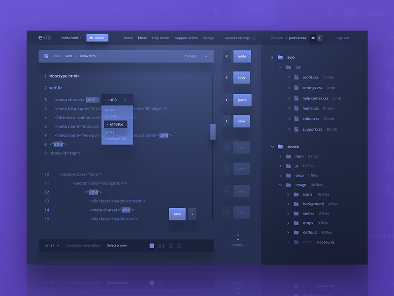 Evio online code editor patrickreza editor evio code ux ui material design dashboard blue dark