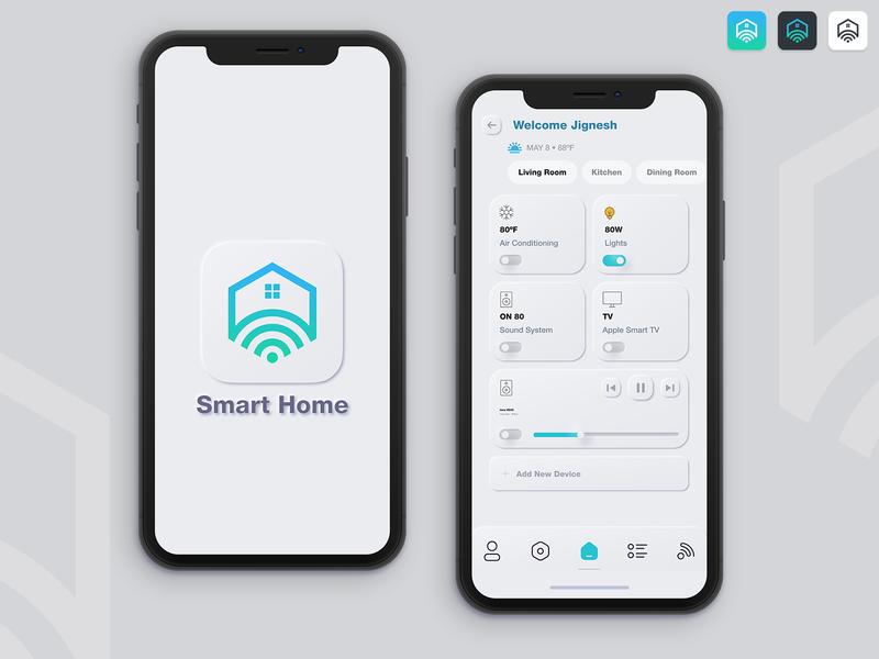 Smart Home figmadesign dribble neomorphism concept design technology smarthome mockup branding ux ios flat illustration design ui mobile app