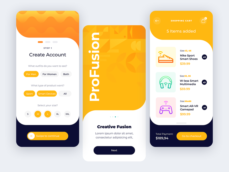 Profusion- Smart App creative wireless vector online shopping materialdesign ios flat illustration design app