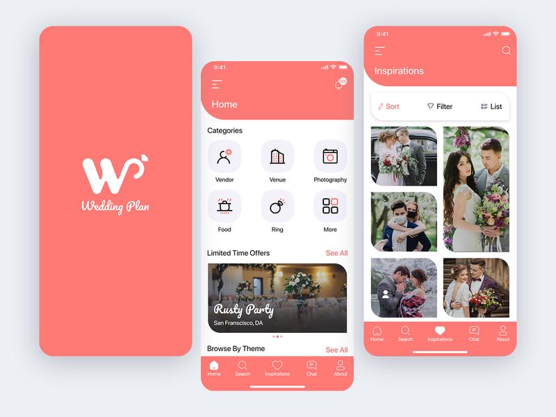 Wedding Plan ux ui branding logo app party celebration trending invite photography mobile app design