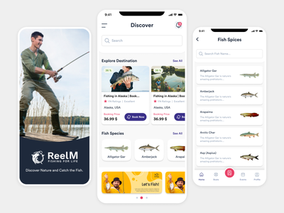 Book Ticket - Fishing fish services secure club events food travel trip usa world mobile android ios app rewards customer captain reelm ticket booking