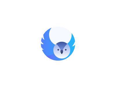 Owl illustration. sharp blue logo owl