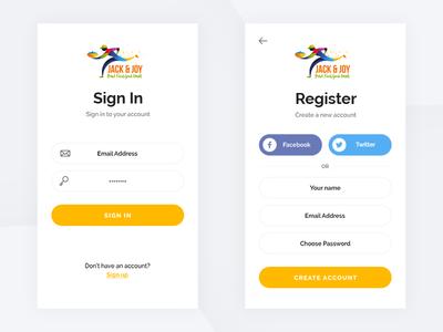 Jack & Joy free mockup layout 2018 service fast flat design ui login sign up sign in ios android mobile delivery restaurant app food