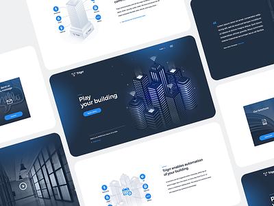 Trigrr web design lights protocol dark blue startup illustration website design automation web design software smart building smarthome