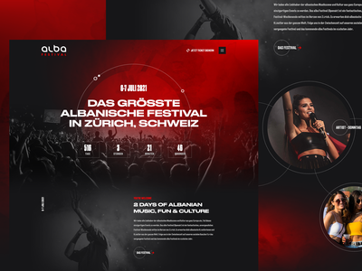 Albanian music festival bold font switzerland website interface artist culture ui  ux red homepage design dark web design festival music