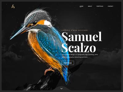 Header personal website «samuel scalzo» interface ui web ui design ui illustration retouching bird portfolio personal website slider header
