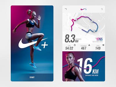 Nike+ running app concept «samuel scalzo» app design nike rethinking material ios app nike plus tracking app activity nike app ui running app nike