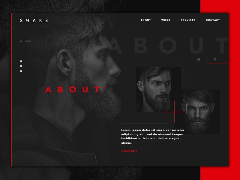 About web page - Daily Ui «samuel scalzo» daily ui red design ui dark profil section web about