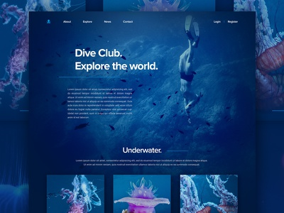 Underwater landing page «samuel scalzo» jellyfish clean ui web blue deep underwater dive club landing page