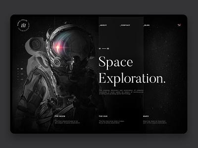 Space Exploration Webdesign clean dark samuel scalzo space landing layout interaction web website ui web design