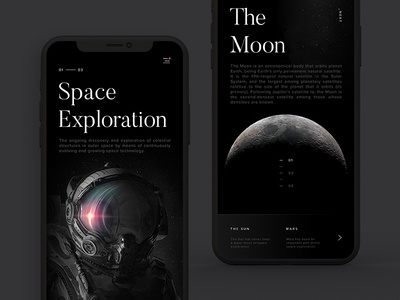 Space Exploration Mobile moon uiux design app interaction mobile space samuel scalzo dark clean