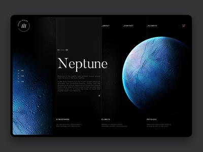 Space Exploration Neptune neptune web design ui website web interaction layout planet space samuel scalzo dark clean