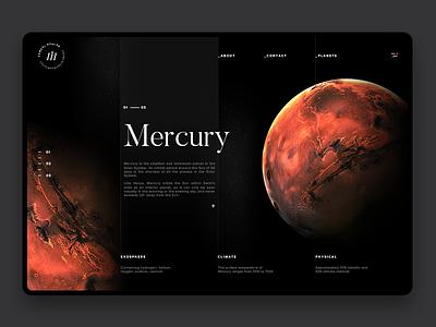 Space Exploration Mercury clean dark samuel scalzo space planet layout interaction web website ui web design mercury
